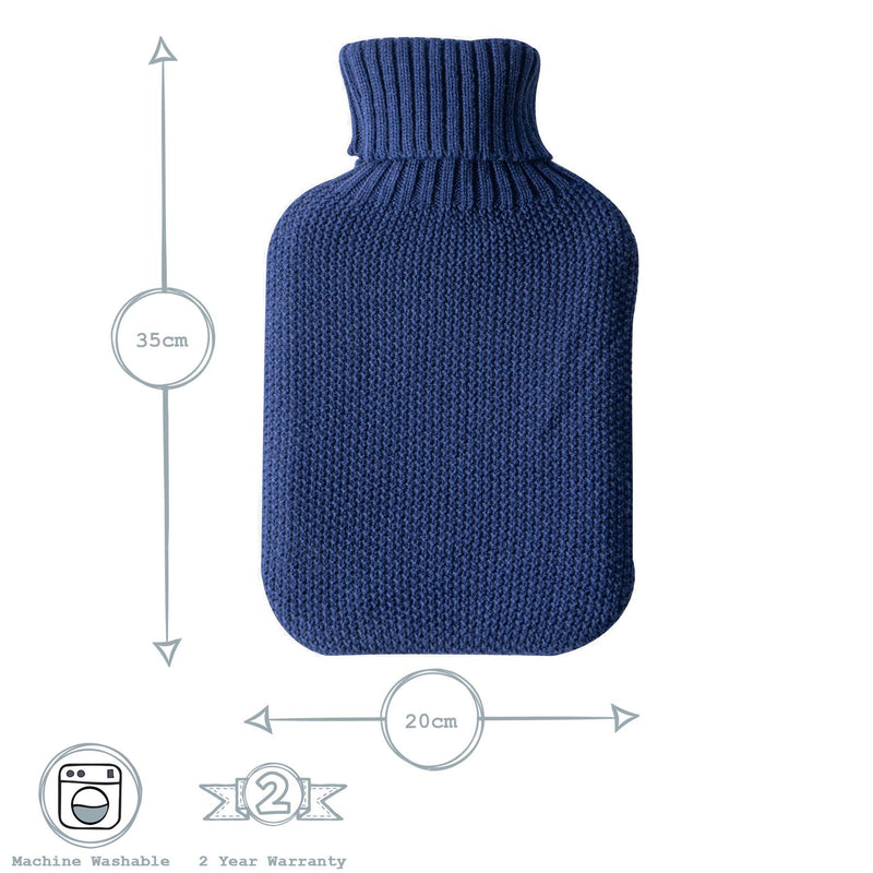Nicola Spring Hot Water Bottle Cover - Knitted - Midnight Blue