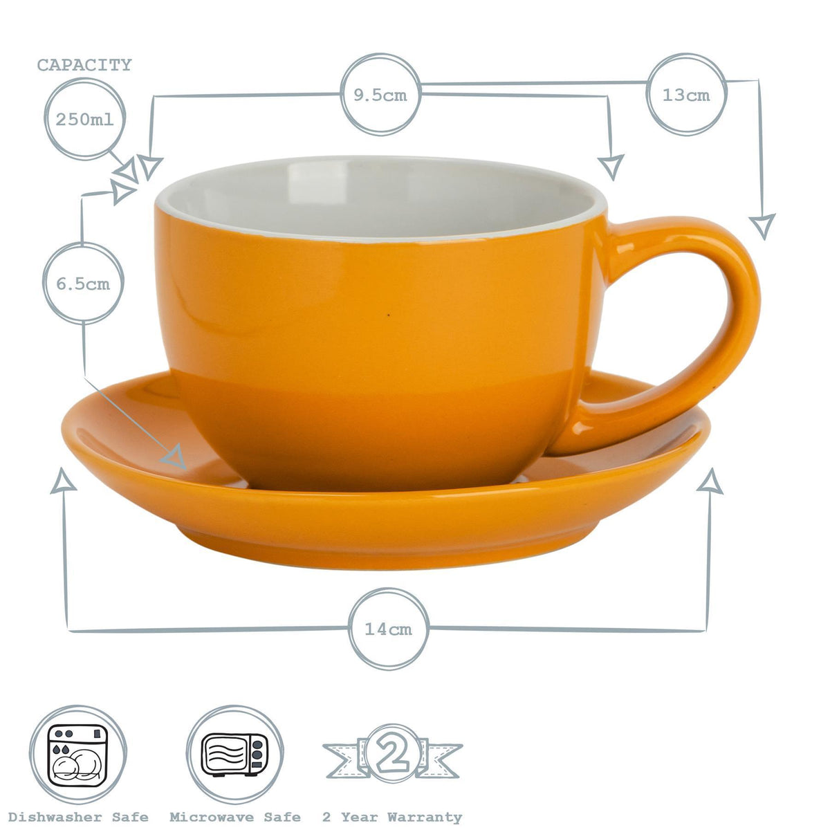 Argon Tableware Coloured Cappuccino Cup - Yellow - 250ml Dimensions