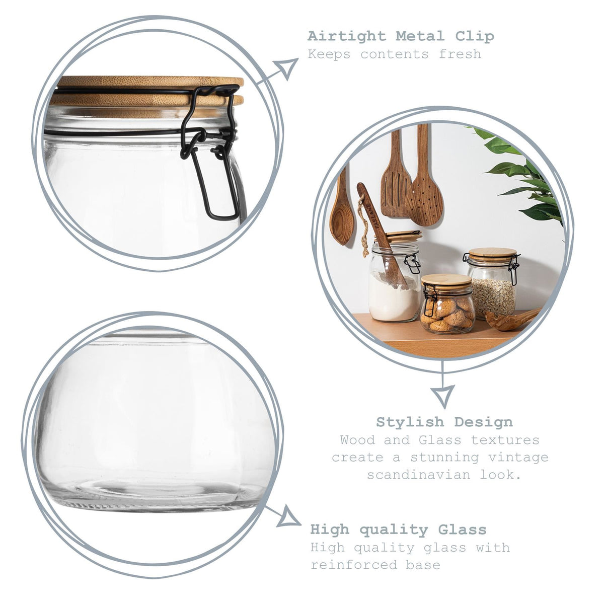Argon Tableware Airtight Storage Jar with Wooden Lid - White Seal - 1 Litre