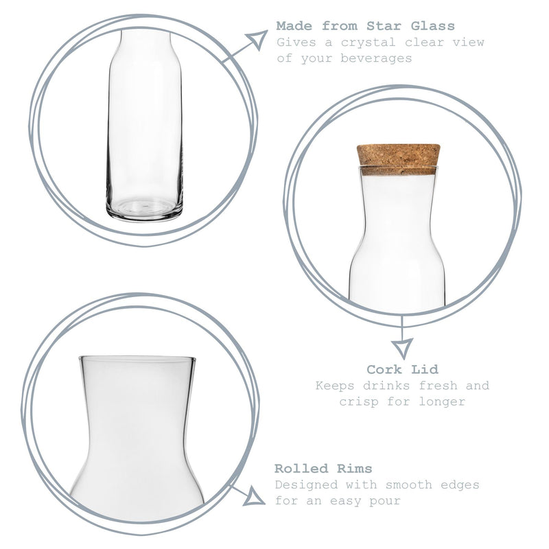 Bormioli Rocco Aquaria Glass Water Carafe with Lid - Clear - 1.2L