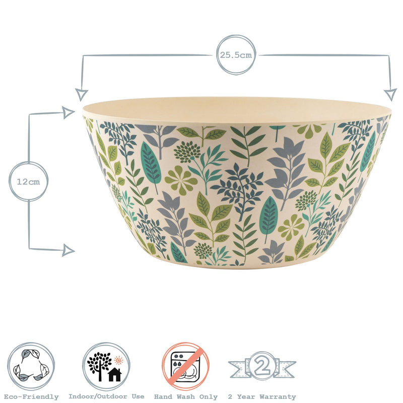 Nicola Spring Eco-Friendly Bamboo Salad Bowl - 25.5cm - Leaf