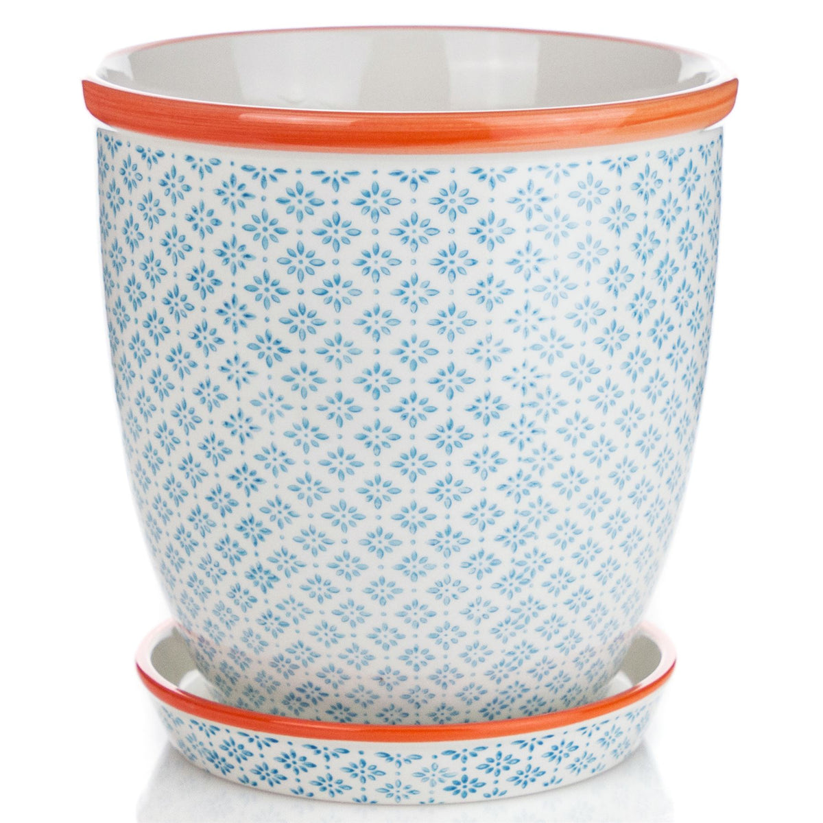 Nicola Spring Hand-Printed Japanese China Flower Pot with Drip Tray - Blue / Orange - 203mm