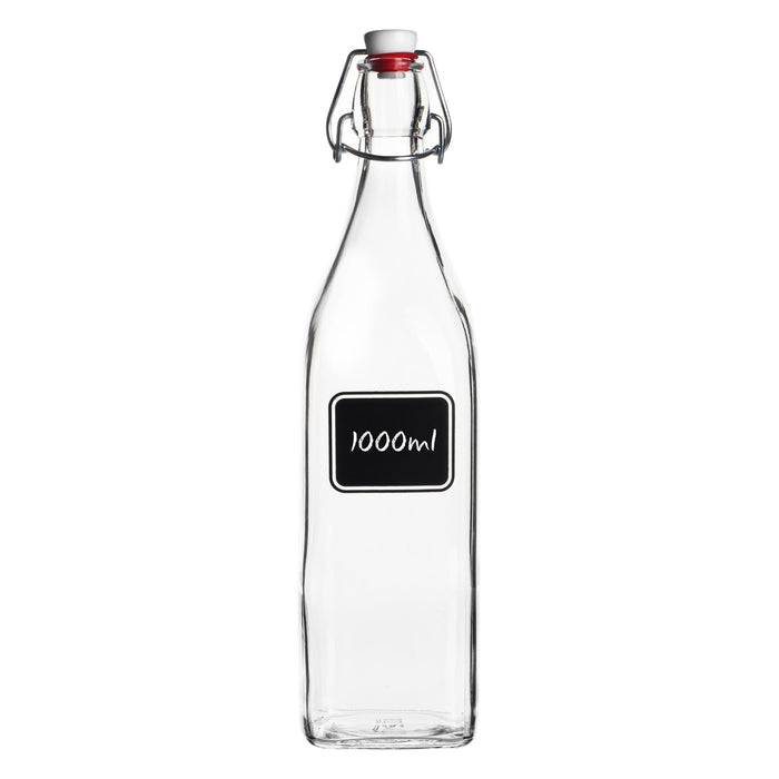 Bormioli Rocco Lavagna Glass Swing Top Bottle with Chalkboard Label - 1L