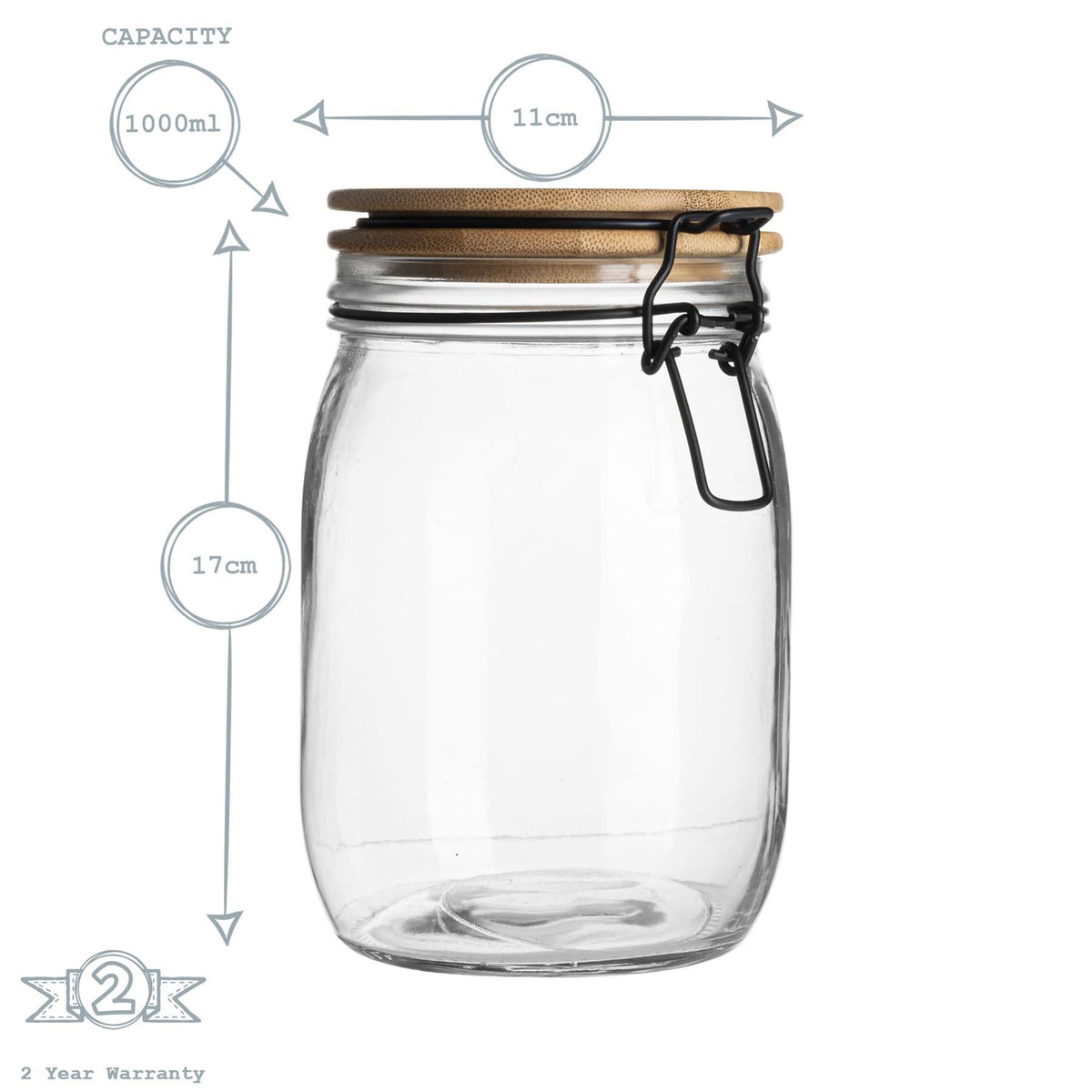 Argon Tableware Airtight Storage Jar with Wooden Lid - Black Seal - 1 Litre