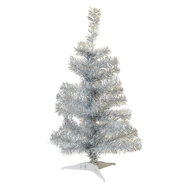 Harbour Housewares 2ft Artificial Pine Christmas Tree With Stand - Silver