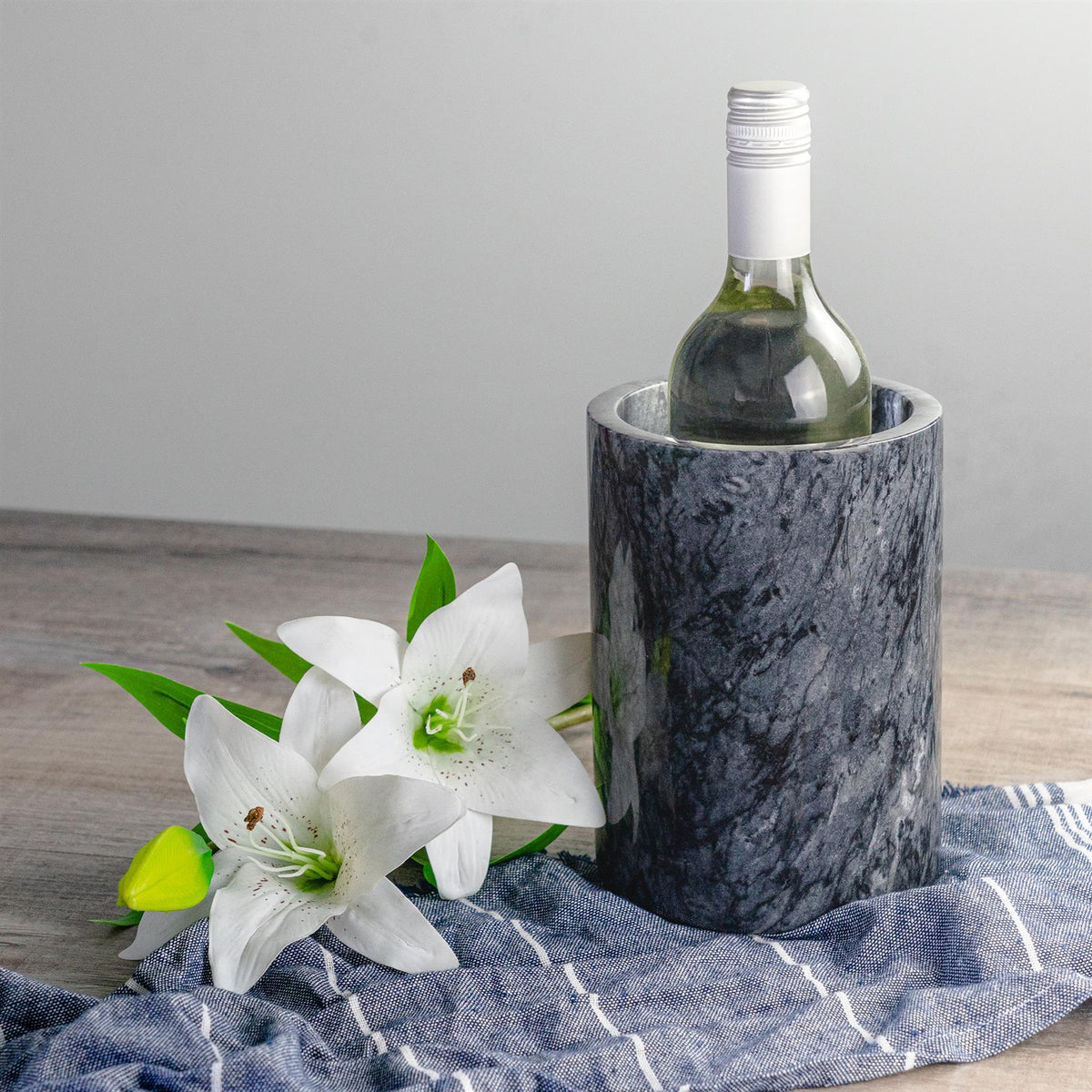 Argon Tableware Marble Wine Bottle Cooler in Black with Turkish Tea Towel