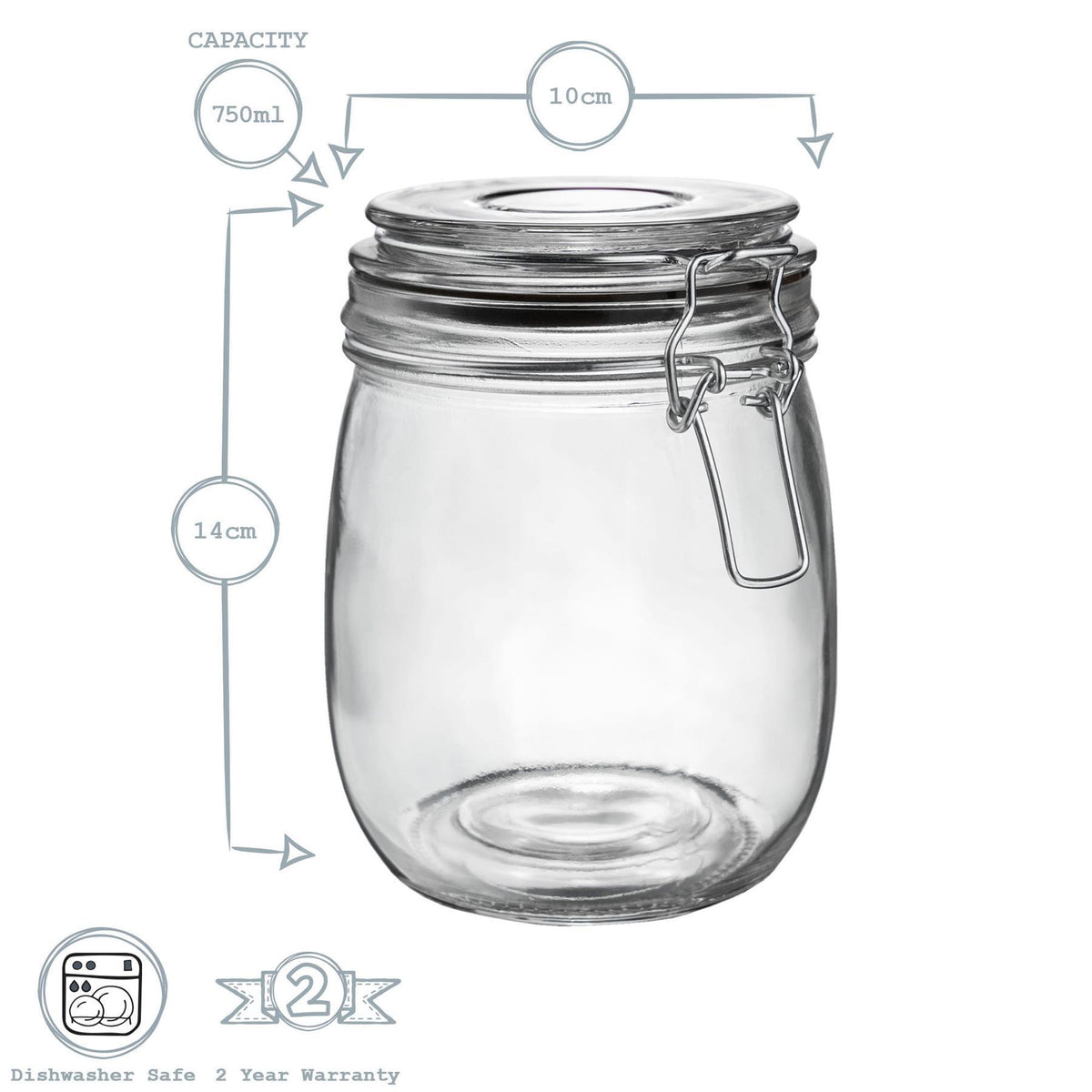 Argon Tableware Glass Storage Jar - 750ml - Black Seal