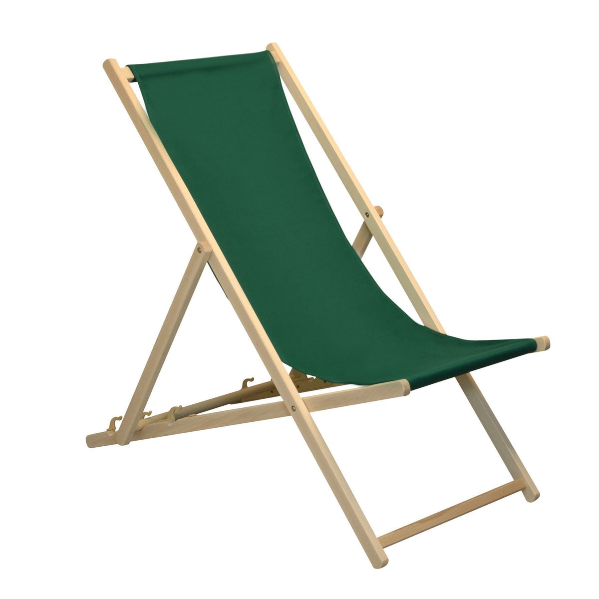Ideal for the garden - The Harbour Housewares Beach Deck Chair - Green with Beech Wood Frame