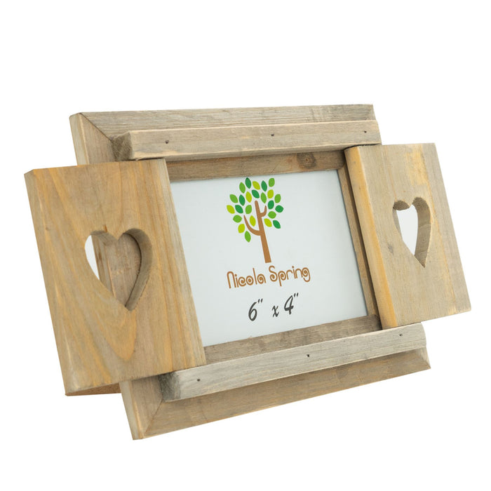 Nicola Spring Wooden Heart Shutter Freestanding Picture Frame - 6x4 - Natural