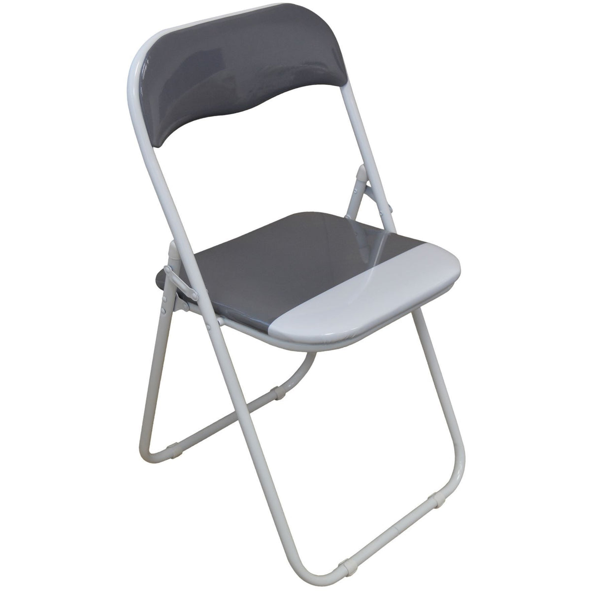 Harbour Housewares Cool Grey / White Padded, Folding, Desk Chair