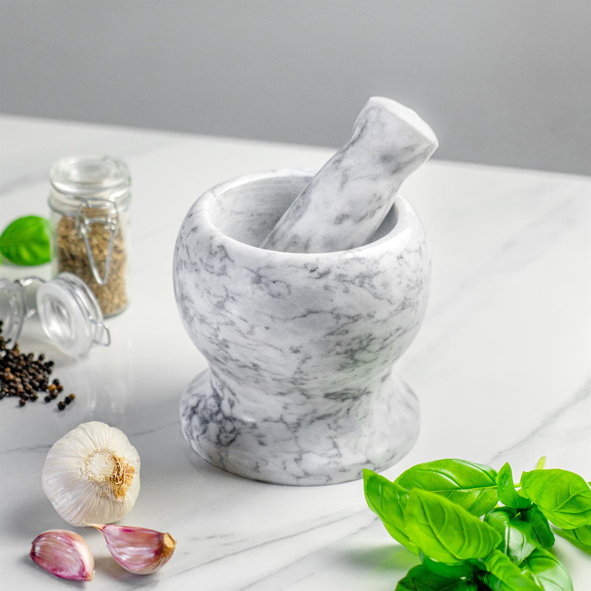 Argon Tableware Marble Mortar and Pestle Set on Counter