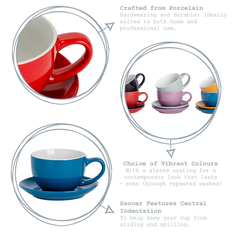 Argon Tableware Coloured Cappuccino Cup - Red - 250ml Key Features