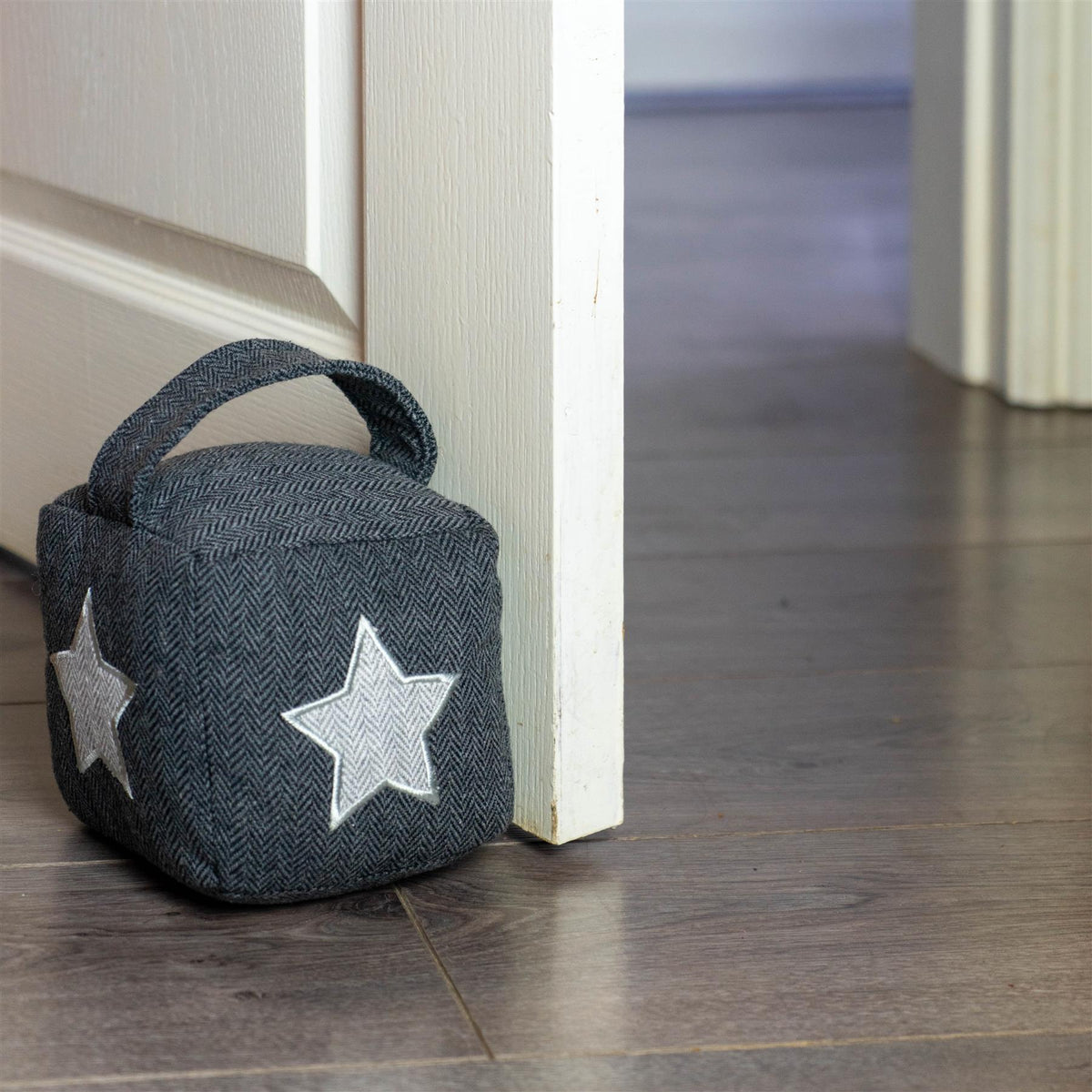 Nicola Spring Fabric Door Stop Star Grey Interior Door