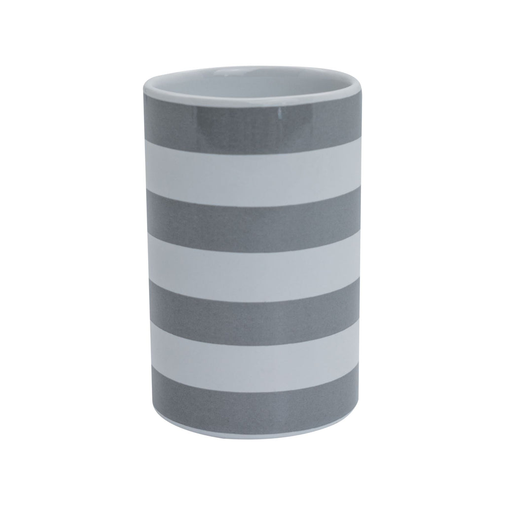 Harbour Housewares Ceramic Toothbrush Tumbler - Grey Stripe