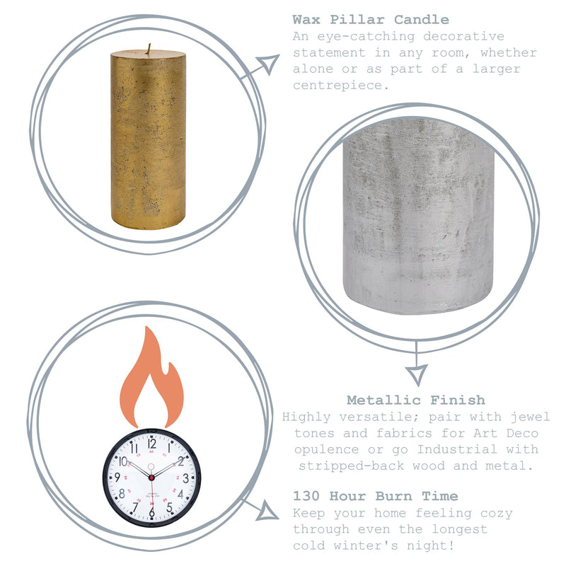 Nicola Spring Metallic Pillar Candle Silver Key Product Features