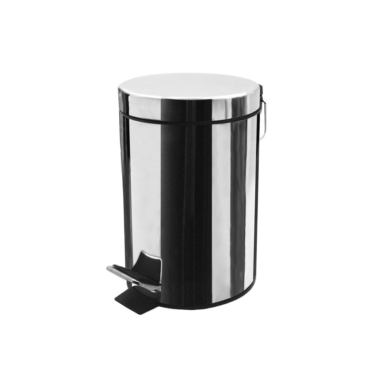 Harbour Housewares Bathroom Pedal Bin With Inner Bucket - Chrome - 3L