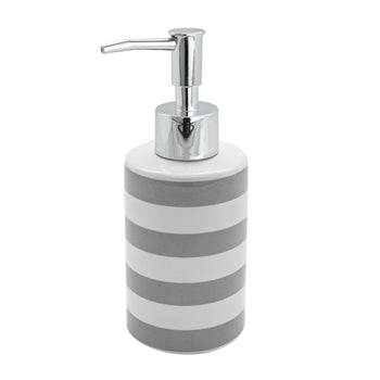 Harbour Housewares Ceramic Pump Soap Dispenser - Grey Stripe