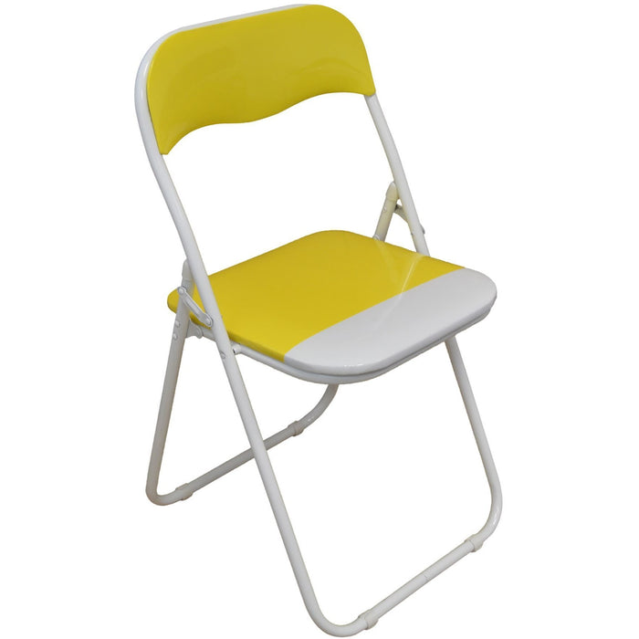 Harbour Housewares Yellow / White Padded, Folding, Desk Chair