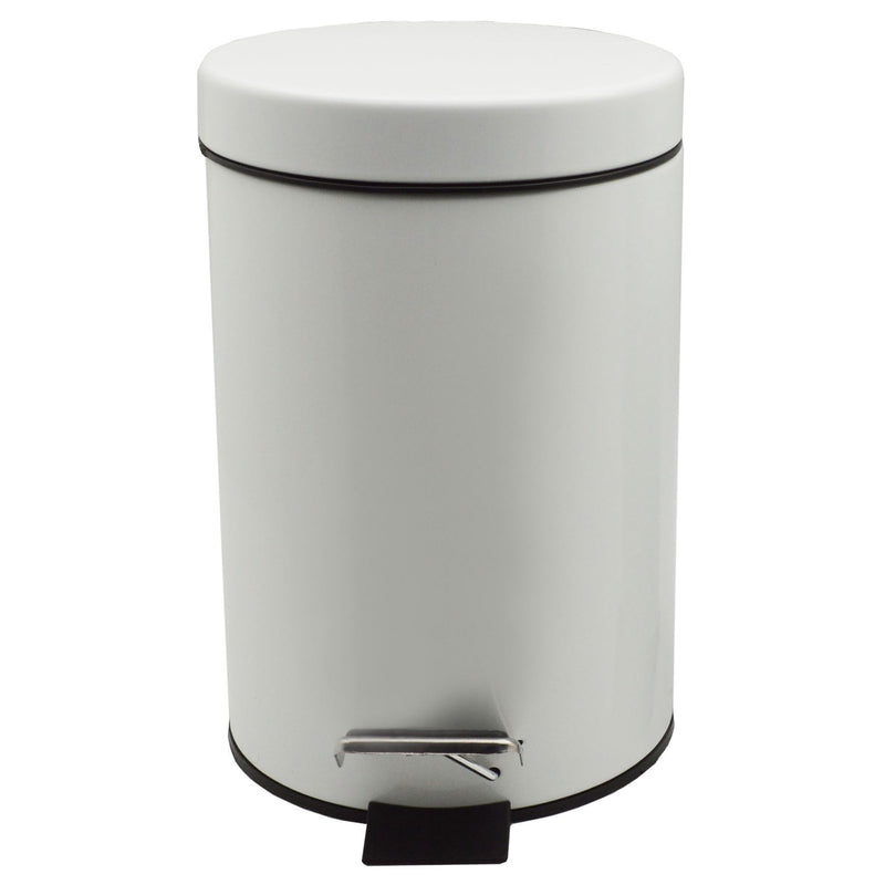 Harbour Housewares Bathroom Pedal Bin With Inner Bucket - White - 3L