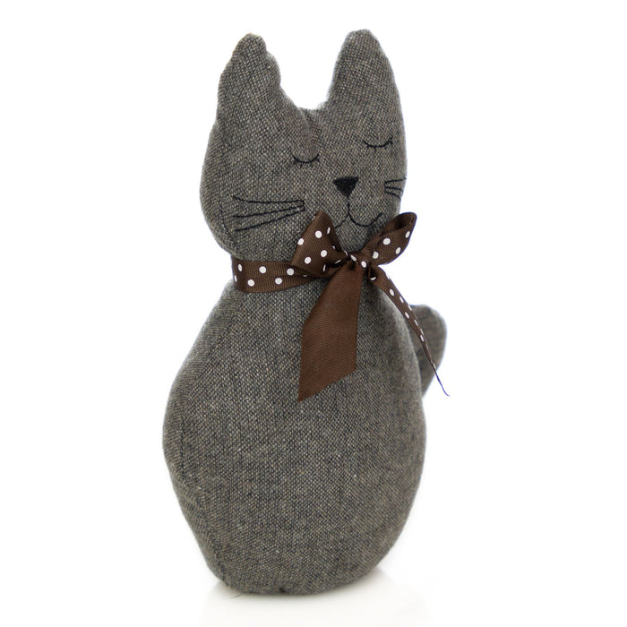 Nicola Spring Jasper the Cat Fabric Household Door Stop - Grey