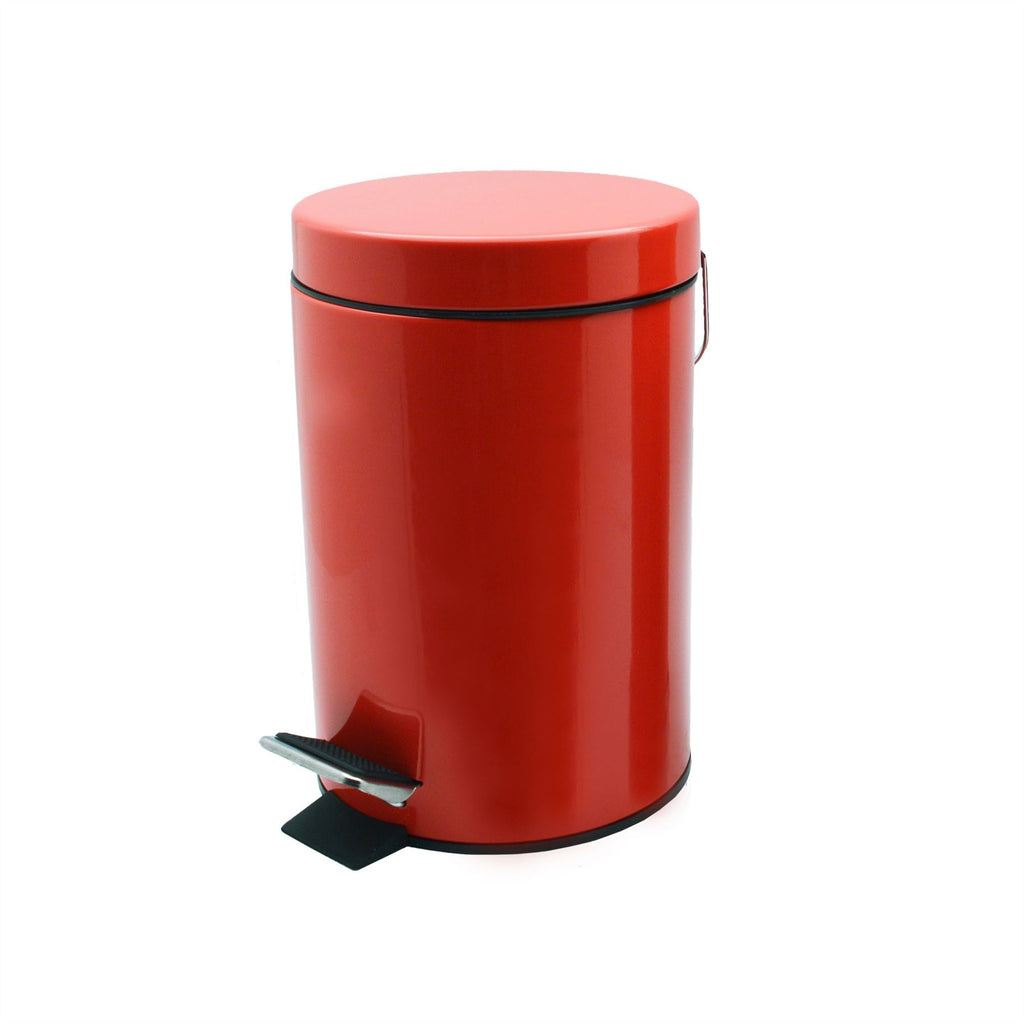 Harbour Housewares Bathroom Pedal Bin With Inner Bucket - Red - 3L