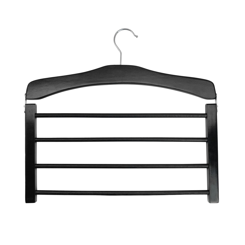 Harbour Housewares Wooden Multi Trouser Hanger - Black
