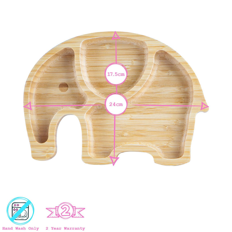 Tiny Dining Children's Bamboo Elephant Plate with Suction Cup - Green