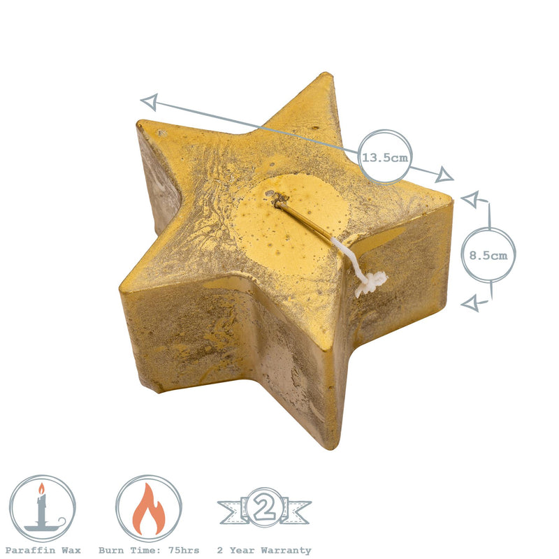 Nicola Spring Star Shaped Metallic Candle Gold Dimensions