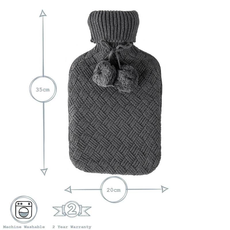Nicola Spring Hot Water Bottle Cover - Knitted - Dark Grey