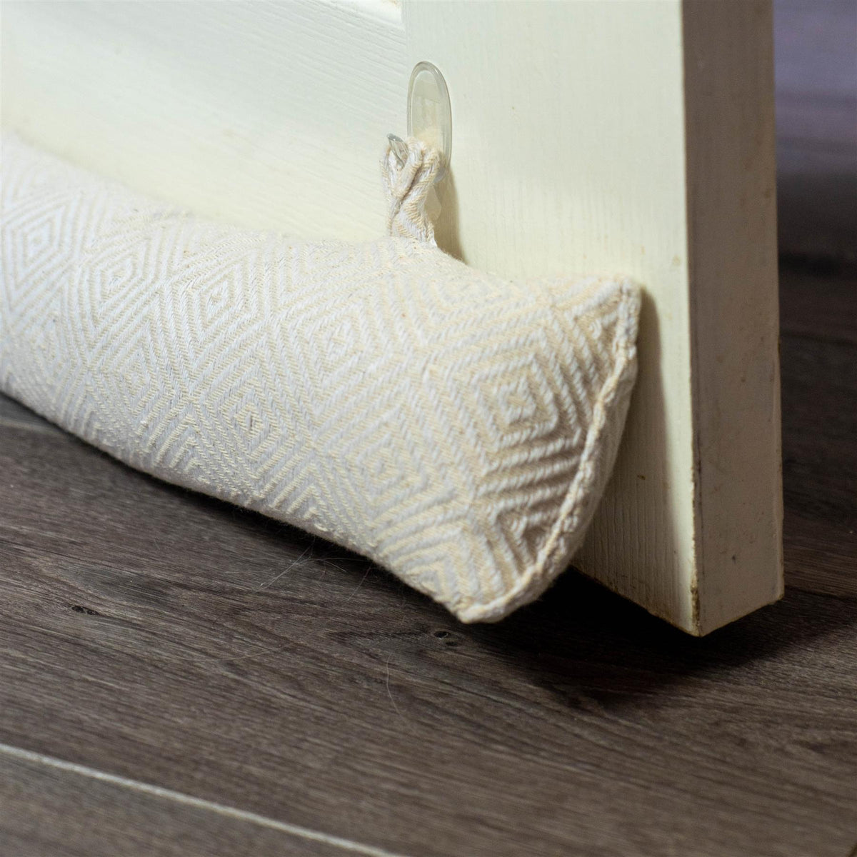 Nicola Spring Decorative Draught Excluder Natural 80cm Interior Door Lifestyle with Matching Door Stop