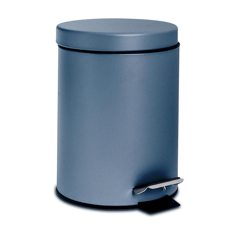 Harbour Housewares 3 Litre Bathroom Pedal Bin With Inner Bucket - Blue Matt