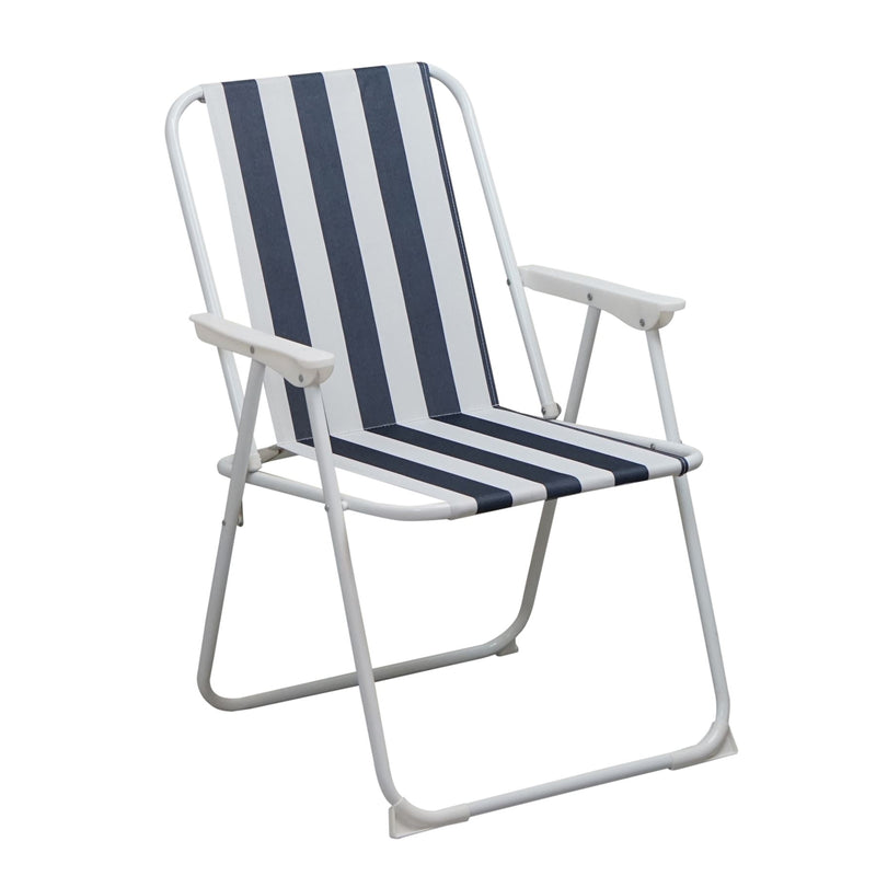 Harbour Housewares Folding Garden Armchair - Blue Stripe