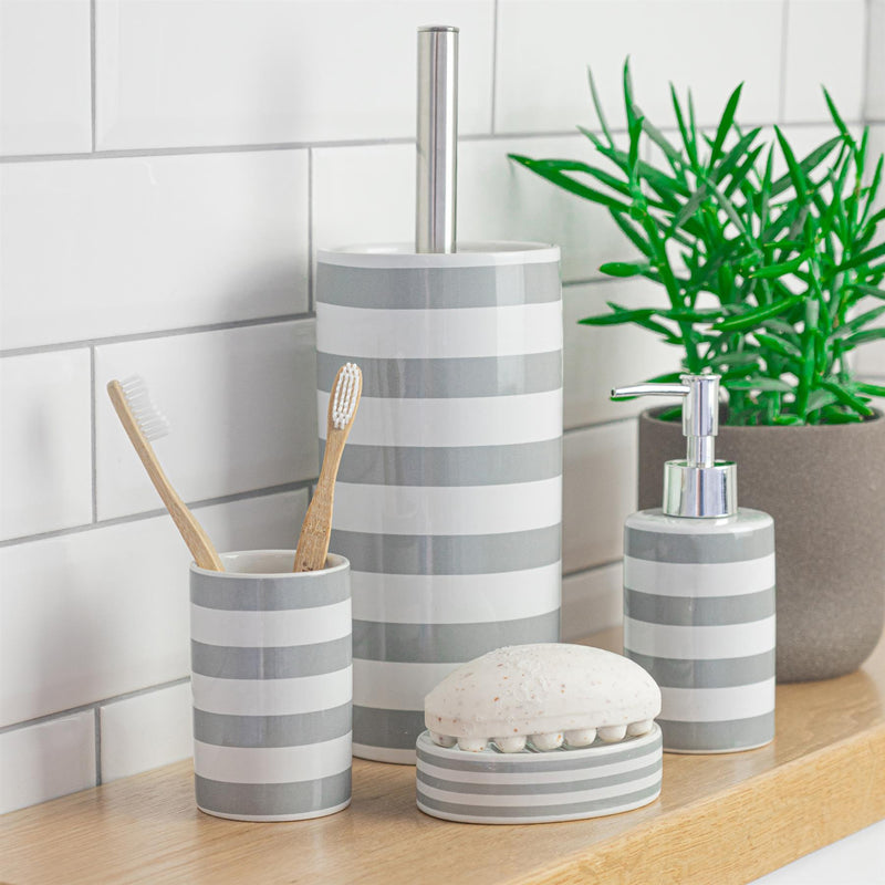 Harbour Housewares Ceramic Toilet Brush & Holder Set - Grey Stripe