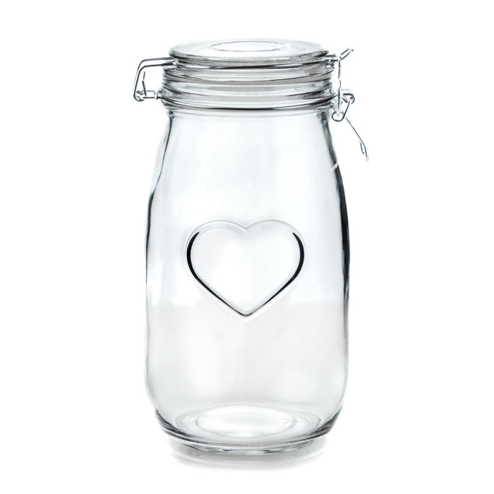 Nicola Spring Engraved Heart Glass Kitchen Storage Jar - 1.5L