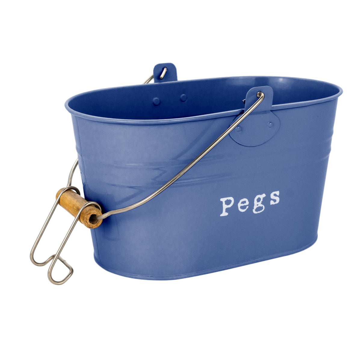 Harbour Housewares Vintage Metal Clothes Peg Bucket - Grey