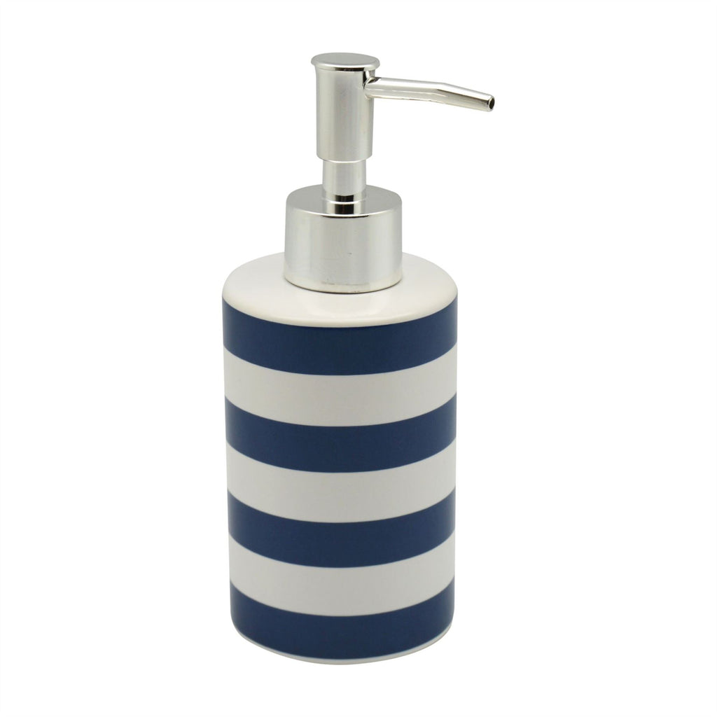 Harbour Housewares Ceramic Soap Dispenser - Blue and White