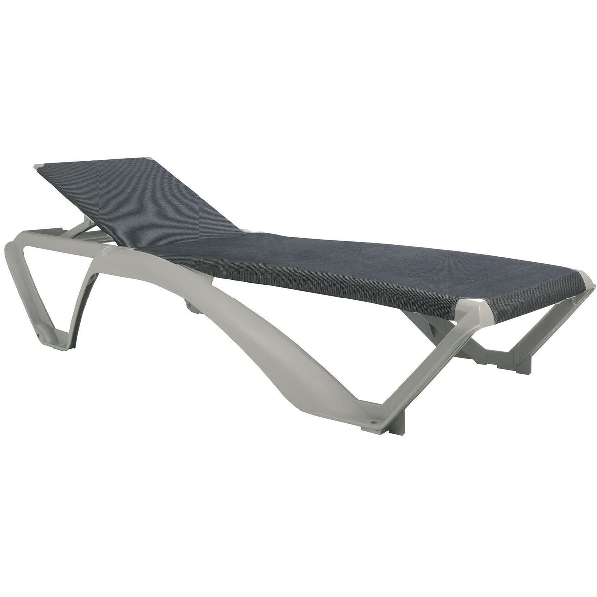 Resol Marina Sun Lounger - Silver Frame with Blue Jeans Canvas Material