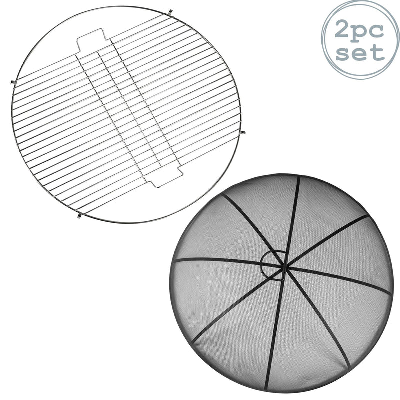 Harbour Housewares Round Firepit Grill & Dome Set - 48.5cm