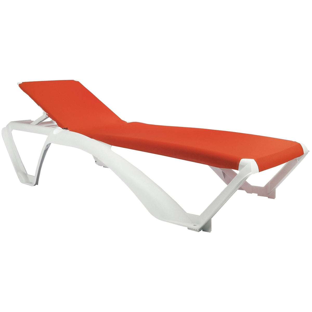 Resol Marina Sun Lounger - White Frame with Orange Canvas Material