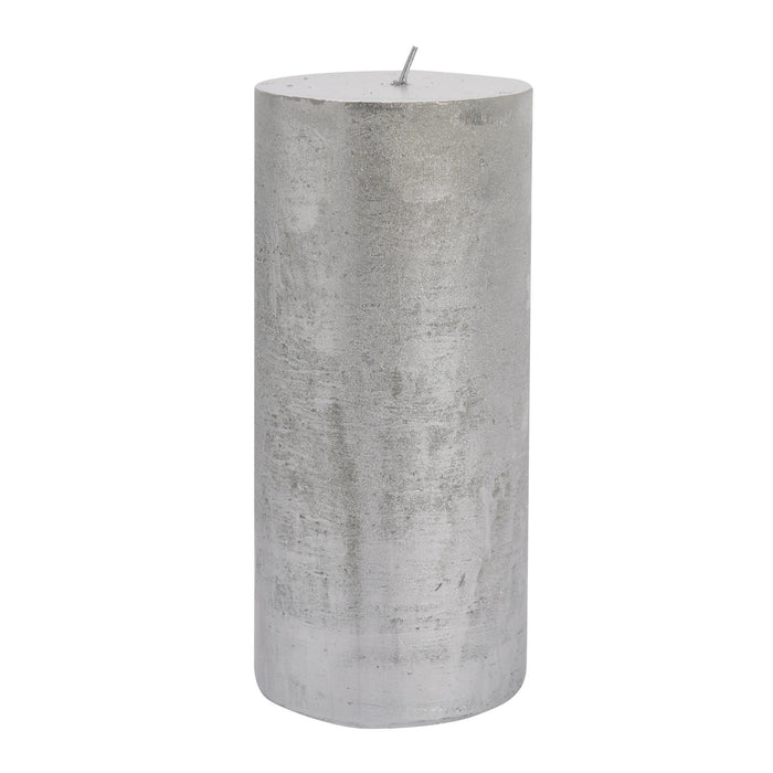 Nicola Spring Metallic Pillar Candle - Silver - 130hr