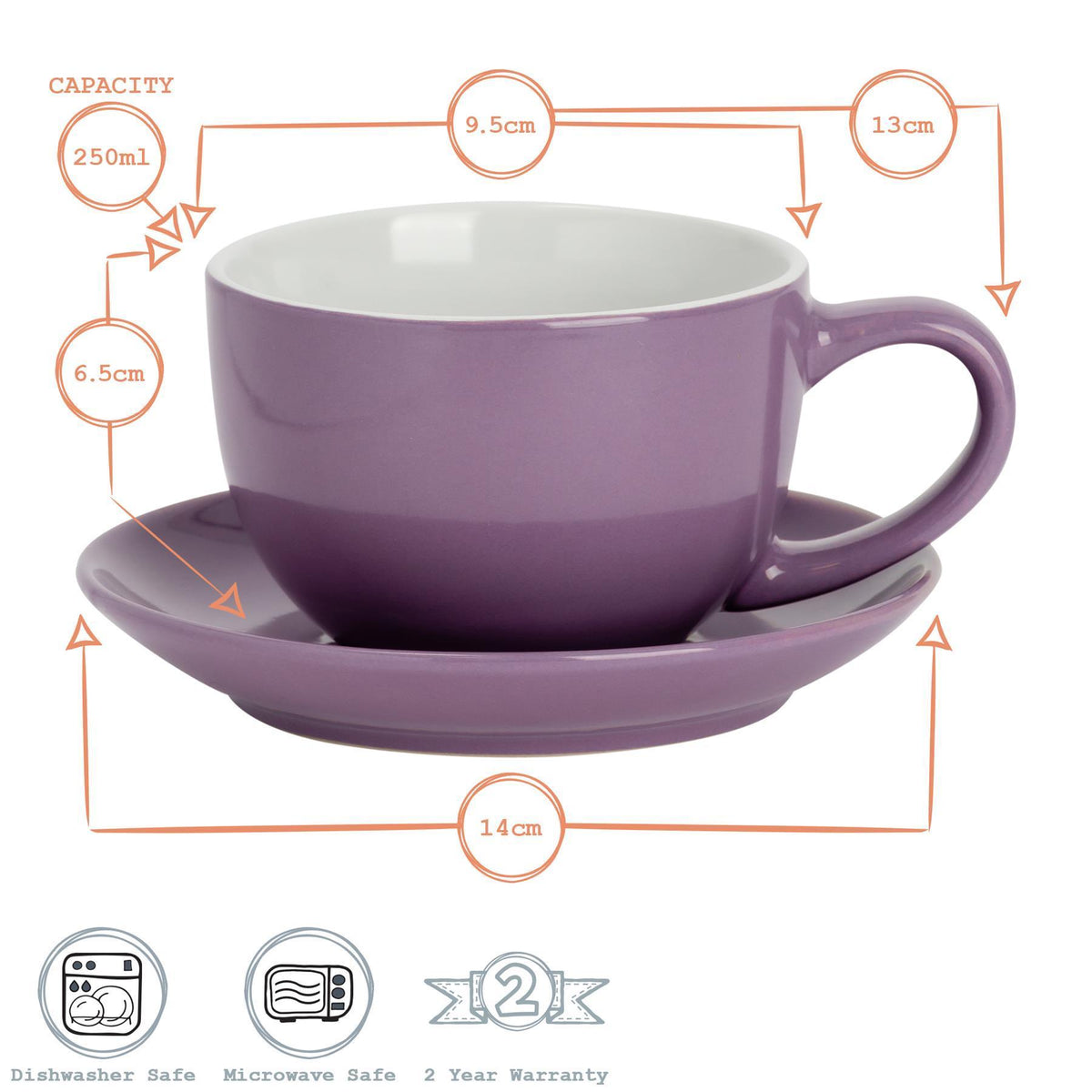 Argon Tableware Coloured Cappuccino Cup - Purple - 250ml Dimensions