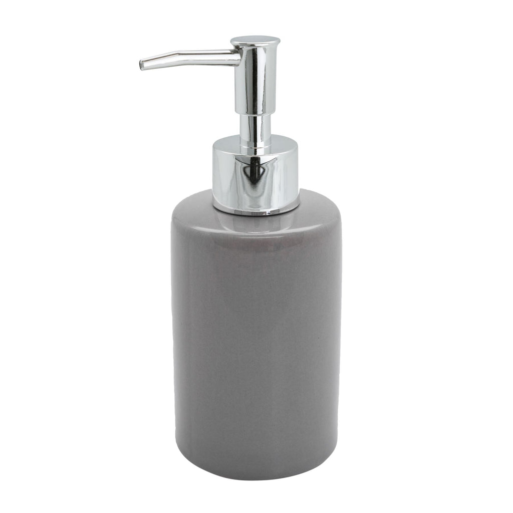 Harbour Housewares Ceramic Bathroom Pump Soap Dispenser - Grey