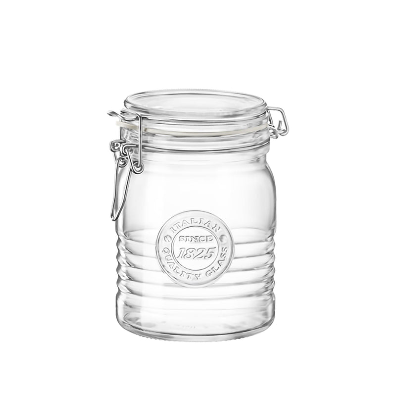 Bormioli Rocco Officina 1825 Glass Storage Jar with Airtight Clip Lid - 750ml - 750ml