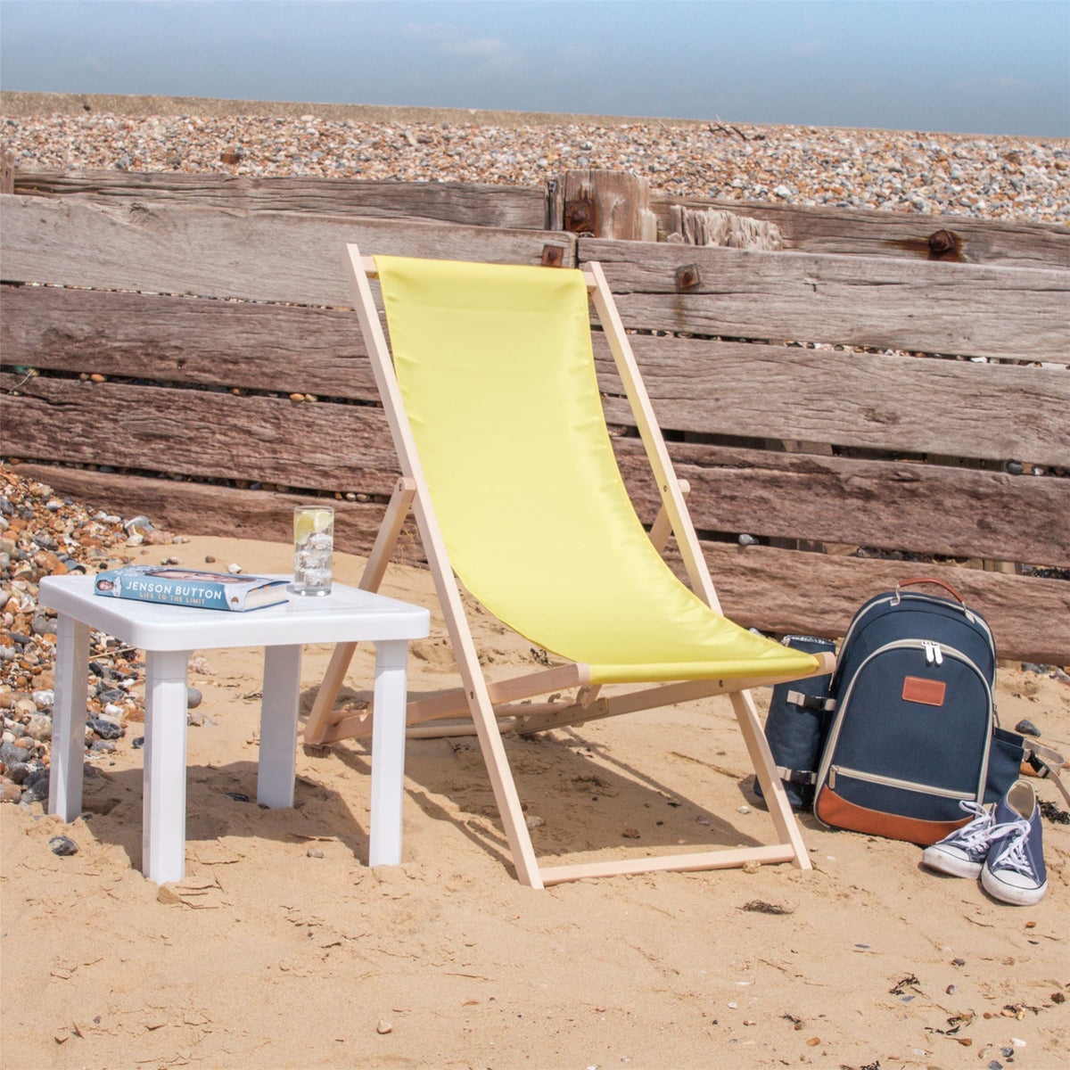 summer beach holiday folding wooden deckchair