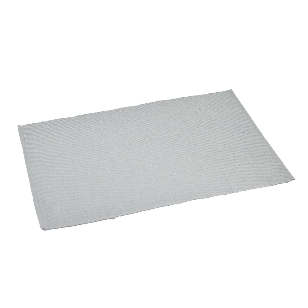 Nicola Spring Ribbed Cotton Dining Table Placemat - Grey