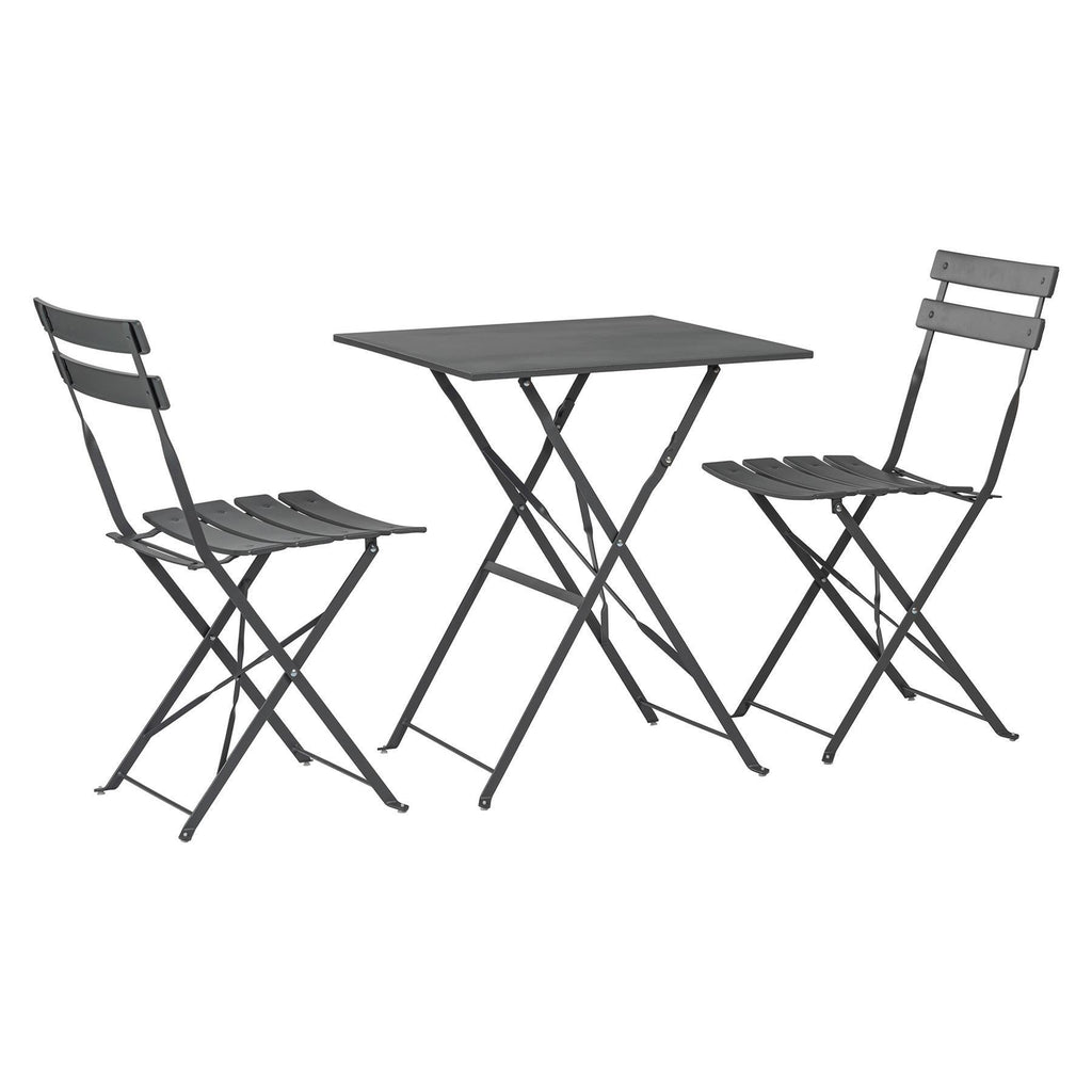 Harbour Housewares 3 Piece Sussex Bistro Set - Square - Grey