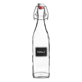 Bormioli Rocco Lavagna Glass Swing Top Bottle with Chalkboard Label - 500ml