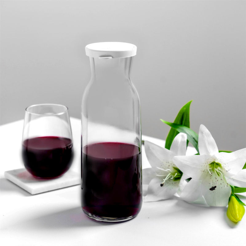 Argon Tableware Brocca Glass Water Carafe with Lid 1.2L Dining Table with Corto Stemless Wine Glass