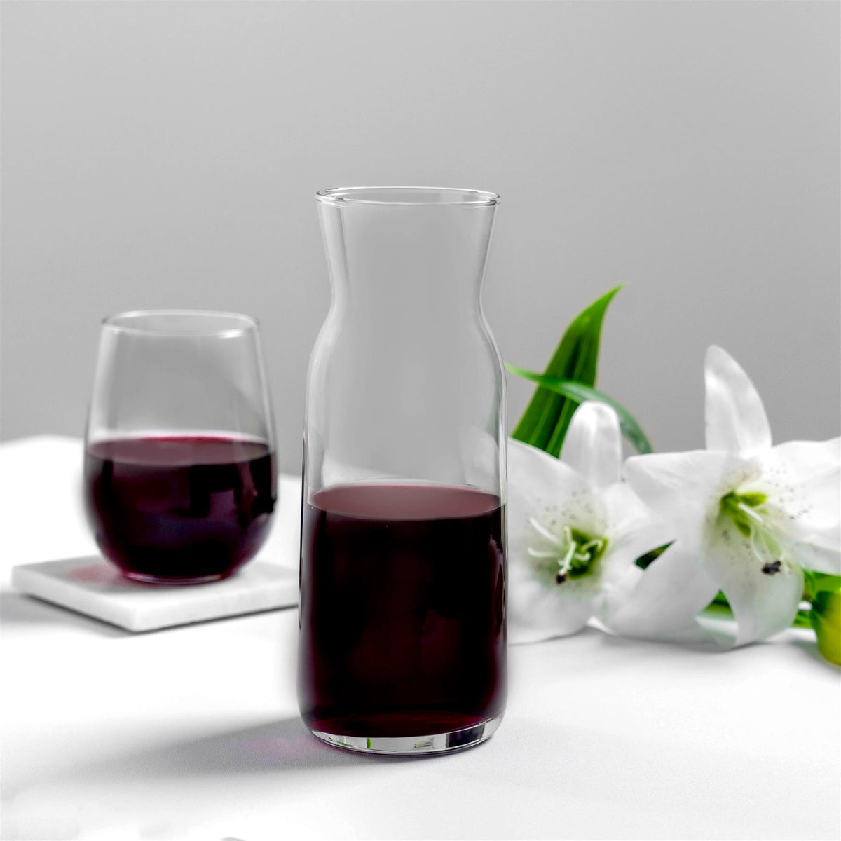 Argon Tableware Brocca Glass Water Carafe 700ml Dining Table with Corto Stemless Wine Glass