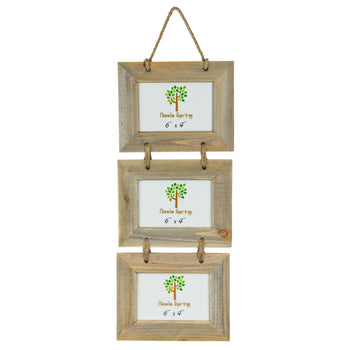 Nicola Spring Triple Picture Wooden Hanging Frame - 6x4 - Natural